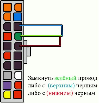 замкнуть провод PS-ON (4-й